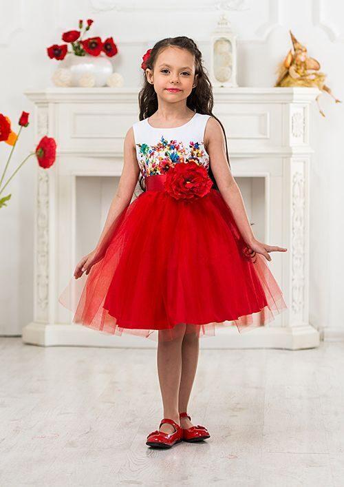 Детское нарядное красное платье